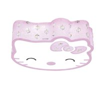 OOVOV Pink Blue Crystal Cat Lâmpadas de teto 24W LED Princess Room Girl's Room Baby Room Kitty Ceiling Light
