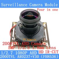 Wholesale F Coaxial - 2MP 1920*1080P AHD 4in1 Coaxial 360Degree Fisheye Panoramic HD CCTV Surveillance Camera Module 2000TVL 1.8mm Lens BNC Cable+HD IR-CUT dual-f