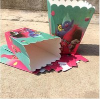 Wholesale Decorative Birthday Gift Boxes - Trolls Party Supplies Moana Popcorn Box Case Puppy Kids Birthday Party Gift Box Favor Accessory Birthday Party Wedding Decoration