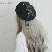 Wholesale Black Ribbon Ring - Wholesale-Japanese Lolita Style Women Ring Ribbon Lacing Bow Wool Hat Harajuku Casual Loose Black Beret