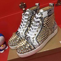 Wholesale Genuine Python Leather - [Original Box] Fashion Spikes Sneaker Shoes Red Bottom High Top Women,Men Shoes Python Leather Causal Louisflats Flats Outdoor Footwear