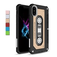 Wholesale Tape Cassette Back Cover - Vintage Tape Cassette Case for iPhone X 8 7 10 Plus Hybrid Hard Phone Back Cover Dust Plug for iPhoneX Samsung Galaxy Note8