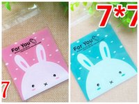 Wholesale Plastic Bags Crafts - 100pcs Packaging Bags Pink Rabbit Print Gifts Bags Plastic Clear DIY Candy Cookies Wedding Birthday Party Craft Bags