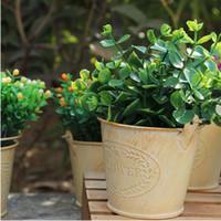 Wholesale Mini Buckets Storage - Vintage Pastoral Style Metal Vase Artificial Flower Pots Mini Bucket Boxes Pails Craft For Storage Home Decor Garden Decoration ZA2872