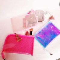 Moda Portable Shinny Cosmetic Bag Tassels Zipper Travel Make Up Bag Letter Maquiagem Wash Case PVC Pouch Toiletry Organizer