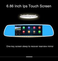 Wholesale Touchscreen Mirrors - Anstar 6.86 Inch Car dvr Dual Camera Android ips touchscreen 4.4 Rearview Mirror GPS Navigation HD 1080P Dash Cam Video Recorder