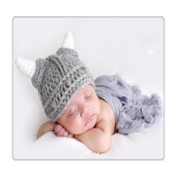 Wholesale Kids Knit Viking Hats - Baby Kids Bonnet Newborn Handmade Crochet Hat Viking Horns Knitted Hat Children's beanie cap Handmade Cap