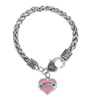 Wholesale Survivor Charms Wholesale - Wholesale-European & American Breast Cancer Awareness Crystal Heart Survivor Bracelet Jewelry