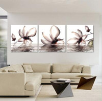 Wholesale Nice Wall Decor - Nice 3 Pieces Wall Picture With Water Growing Art Flower In Heart On Canvas Printed Painting Modern Picture Home Decor