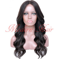 Wholesale wavy synthetic full lace wig resale online - Fast shipping black color Synthetic Lace Front wig body wave cheap long wavy full lace wig with baby hair for Africa black women