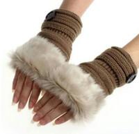 перчатки кролика перчатки оптовых-Кнопка перчатки женщины девушка вязаный искусственный мех кролика перчатки без пальцев зимой теплее открытый варежки красочные модные аксессуары Рождественский подарок