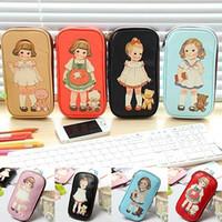Wholesale pencil cartoon character - Wholesale- Women Cute Cartoon Doll Girl Pattern Pen Pencil Case Bag Cosmetic Makeup Bag
