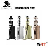 Wholesale E Cigarette Transformer - 100% Original Yocan Wellon Transformer 75W Kit E Cigarette Starter Kit VW TC 18650 Battery Box Mod 4ml Symmetric Airflow Tank