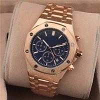 лучшие часы для мужчин марки оптовых-All Subdials Work Hot Мужские часы Нержавеющая сталь Кварцевые наручные часы Секундомер Роскошные часы Лучший бренд Relogies для мужчин Лучший подарок на Валентина