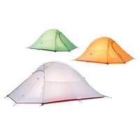 tapis de camping double achat en gros de-Camping Tente 20D Silicone Tissu Ultra-Léger 2 Personne Double Couches En Aluminium Tige Camping Tente 4 Saison Avec 2 Personne Tapis