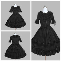 Wholesale Elegant Gothic Lolita - Occident Style High-grade Lace collar Jewel Lotus Leaf Prom Dream elegant Princess Dresses Gothic Lolita Simple Gowns 2018 Real Photo