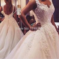 hijab moderno de noiva venda por atacado-ZJ9076 vestido De Baile Real Imagens Vestido De Novia Vestido De Noiva De Tule 2019 2020 com Pérolas Vestidos De Noiva Robe de Casamento Vestidos De Casamento