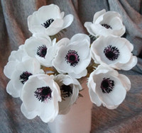 Wholesale Real Wedding Centerpieces - Wedding Flowers Real Touch White Anemones Flowers PU Artificial Anemones For Bouquet Table Centerpieces Natural PU Flowers