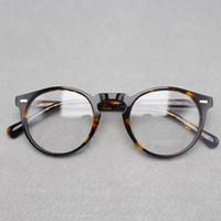 Wholesale Solid Plastic Frame - 2017 brand designer Oliver Peoples women eyeglasses frame optical Round OV5186 Gregory Peck glasses prescription eyewear for men 6 colors