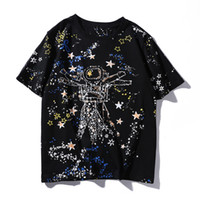 Wholesale Doodle Top - 2017 New fashion women's lovers scrawl doodle space galaxy astronaut print personality short sleeve cotton t-shirt pullover tops
