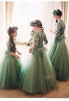 цветок девушка платья мята оптовых-2017 роскошные девушки цветка платья Лолита театрализованное вечеринка День Рождения выпускного вечера свадебная одежда платье Jewel Sheer с длинным рукавом онлайн мятно-зеленый вечернее платье