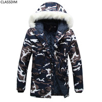 Wholesale Man Fur Coat Models - Winter Couple Models Camouflage Colored Cotton Coat Big Yards Long Section Fur Collar Hooded Cotton Jacket Size S-6XL