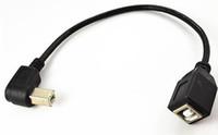 usb cable b ângulo recto venda por atacado-25 cm USB 2.0 B fêmea para a Direita / Esquerda / Para Cima / Para Baixo USB 2.0 B Macho Impressora Adaptador de Cabo de Extensão Curta