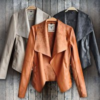 Wholesale Womens Leather Vest Fashion - Wholesale- Fashion Vintage Womens Slim Leather Jacket Biker Motorcycle Short Coat Jacket