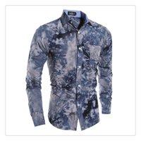 Wholesale Men S Tie Paisley - Men's Casual Shirts Spring&autmn Fashion3D Snow Tie-dyed Men's Casual Long Sleeved Shirts for Men US SIZE:XS-L