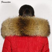 Wholesale Real Fur Coats Men - Wholesale- Foxmertor 2017 Scarves for Women 100% Real Raccoon Fur Collar Coat Winter Fur Parka Scarf Luxury Brand Women Scarve Female #F260