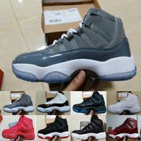 Wholesale Mens Purple Canvas Shoes - [With Box]Mens basketball shoes Sneaker Legend Blue Retro 11s Space Jam sports sneaker Concorrd Panton Gamma Blue athletic boots Retros 11