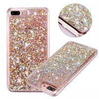 Wholesale 3d Bling Cell Phone Cases - For iphone 6 quicksand case bling diamond glitter 3D liquid phone cases hard PC cell phone case wholesales for iphone 7 7plus case