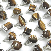 Wholesale Tiger Rings Women - 10pcs Mix Style Fashion Silver P Natural Tiger Stones Women Mens Rings Wholesale Jewelry A-129