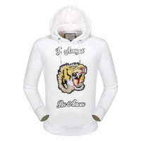 Wholesale Tiger Print Top Jumper - 2017 new fashion High Quality Cool the tiger embroidery towel embroidery hoodies top jumper men women fashion jumper men women sweatshirts
