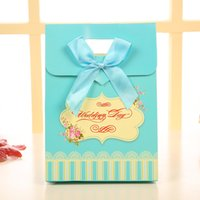 Wholesale Blue Treat Bags - 25pcs Blue bowknot Tie Birthday Boy Baby Shower Favor Candy Treat Bag Wedding Favors Candy Box Gift Bag