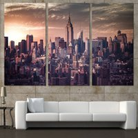 Wholesale Wall Poster New York - 3 Pcs Set Framed HD Printed City New York Buildings Picture Wall Art Canvas Print Decor Poster Canvas Modern Oil Painting