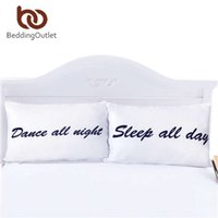 Wholesale Pillow Case Pair - Wholesale- BeddingOutlet Sleep All Day and Dance All Night Pillowcases Funny Couple Pillow Shams 1 Pair 50cmx75cm 50cmx90cm Pillow Case