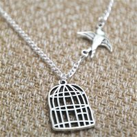 Wholesale Bird Cage Pendant Charm - 12pcs lot Bird Out of Cage necklace charm inspired Neckace