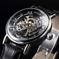 Wholesale Hollow Skeleton - Wholesale- 2016 new skeleton hollow sewor brand design fashion mechanical men luxury male business leather wrist army sport gift watch