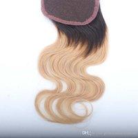 en güzel sarışın saç toptan satış-En çok satan mombre 1B 27 # Sarışın İnsan Saç Dantel Üst Kapatma Koyu Kökleri Ile Brezilyalı Saç vücut dalga Dantel Kapaklar Bebek Saç