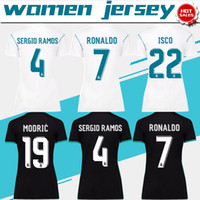 Wholesale Gold Shorts Women - Women real madrid home white Soccer Jersey 17 18 real madrid away female Soccer Shirt 2018 Customized #7 RONALDO girl football uniform Sales