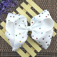 Wholesale Head Clip Flowers - 9 style JOJO Princess Bowknot Ribbon printing Head Clip 8 inch large ribbed bowknot clip Christmas Halloween show head flower L205