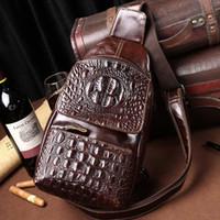 Wholesale Real Leather Mens Bag - 2016 Genuine leather bag men messenger bags crocodile pattern leather Brand real leather shoulder bags mens handbag business