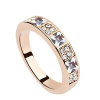 Wholesale Cluster Engagement Ring Rose Gold - Crystal from Swarovski Elements Fashion Rings For Women 2017 New Arrival Rose Gold Color Wedding Engagement Rings 8538