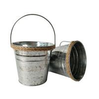 ingrosso fiori di ferro rustico-D13 * H12CM Canapa corda Vasi per matrimoni galvanizzati Fioriera per vasi da fiori pentola in ferro Finitura rustica Vivaio Vasi argentate