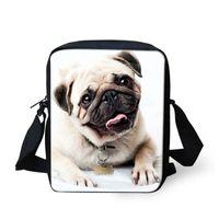 Wholesale vintage pug - Cute Pet Pug Dog Print Girls Messenger Bag Shoulder Bags Women Casual Bags Handbag Fashion Small Bag for Kids