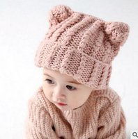 Wholesale Bear Beanie Babies - Baby hat kids baby photo props beanie Newborn cotton gorros fashion babies kniting Bear ear hat toddler warm cap sweet princess hat T4356