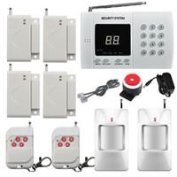 home alarmanlagen dialer großhandel-Wireless PIR Home Security Einbruchmeldeanlage Auto Dialer 2x Infrarot Bewegungsmelder 4x Tür / Fenster Alarm Sensor