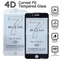 pantalla frontal china al por mayor-4D Curved Glass Tempered Glass Front 4D Full Cover Protector de pantalla de vidrio templado Protectores de pantalla rojos chinos para iphone 7 6 6 s plus 7G