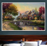 Wholesale Block Country - Flower Country Landscape Print Diamond Embroidery DIY Needlework Diamond Painting Cross Stitch 5D Rhinestones Home Decor Without Frame